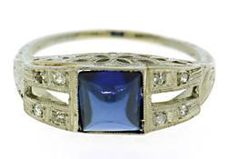 14kt Art Deco Sapphire & Diamond Ring