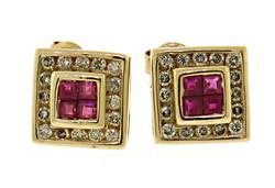 14kt Ruby & Diamond Halo Earrings