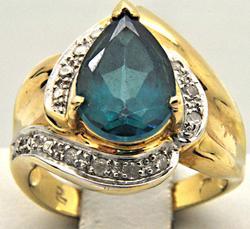 LADIES 14 KT GEMSTONE AND DIAMOND RING
