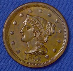 1855 Upright 5 UNC Large Cent