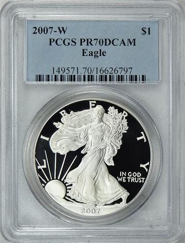 2007-W PR70 DCAM Silver Eagle, PCGS