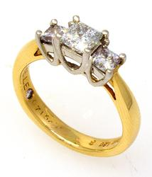 Leo 1.06CTW Three-Diamond Gold with Platinum Ring, Size 4.75