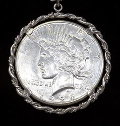 1926 Peace Dollar Pendant on 24.5in Sterling Chain