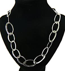 Sterling Silver Open Link Hammered Necklace