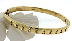 14KT Yellow Gold Single Cut Diamond Bangle