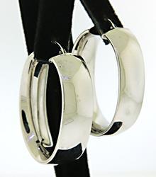 14KT White Gold Wide Oval Hoop Earrings