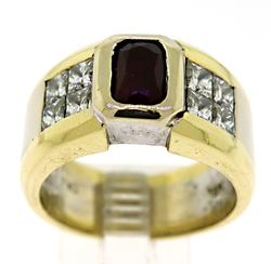 Men's 18KT Two Tone Gold Ruby & Diamond Ring