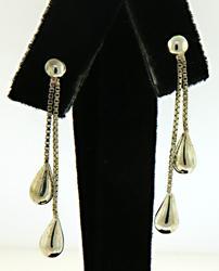 Double Tear Drop Sterling Silver Earrings
