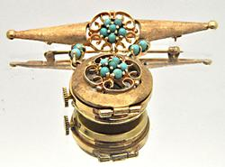 14 KT GENEVA WATCH PIN WITH TURQUOISE ACCENTS