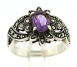 Marcasite and Amethyst Sterling Silver Ring
