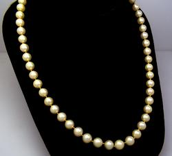 Vintage Pearl Necklace with Opal Accented Gold Clasp