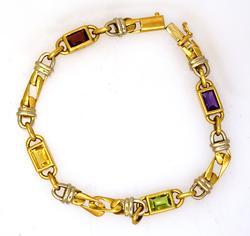Stunning Multi-Gem 18K Gold Bracelet, 8in