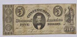 Rare 1861 T-34 Confederate States $5 Note
