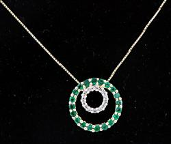 14kt Emerald & Diamond Necklace
