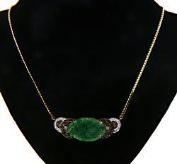 Vintage 14kt Jade & Diamond Necklace