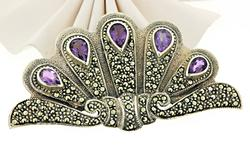 Amethyst and Marcasite Sterling Silver Pin