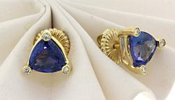 Stunning 14kt Tanzanite & Diamond Earrings