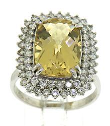 Captivating 14kt Beryl & Diamond Ring