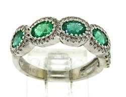 Vibrant 14kt Emerald & Diamond Band