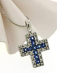14kt Sapphire & Diamond Cross Pendant