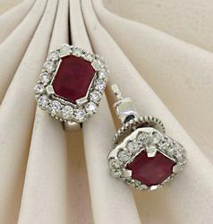 Dainty 14kt Ruby & Diamond Halo Studs