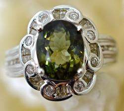 Stylish Green Tourmaline and Diamond 14K Ring