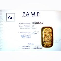 PAMP Suisse 50 Gram Gold Bar Poured Design
