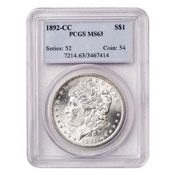 Certified Morgan Silver Dollar 1892-CC MS63 PCGS