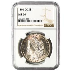 Certified Morgan Silver Dollar 1891-CC MS64 NGC