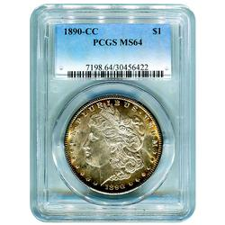 Certified Morgan Dollar 1890-CC MS64 PCGS Toned