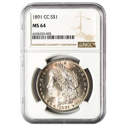 Certified Morgan Silver Dollar 1891-CC MS64 NGC