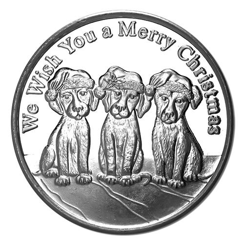 Christmas Puppies 2018 Silver Round