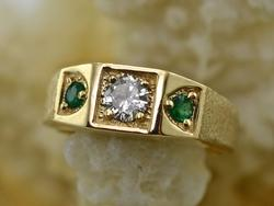 Attractive Man's 14K Diamond & Emerald Ring
