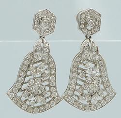 18KT White Gold Diamond Bell Earrings