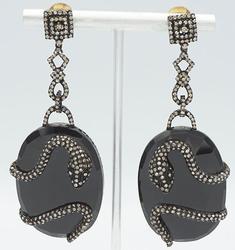 Large Onyx & Diamond Dangle Earrings