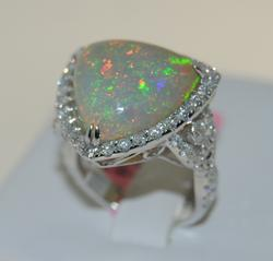 Opal & Diamond Cocktail Ring in 18K White Gold