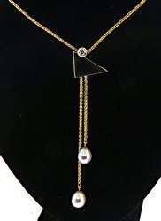 Versatile 18kt Pearl Lariat Necklace