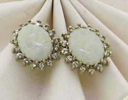 Iridescent 14kt Opal & Diamond Halo Studs