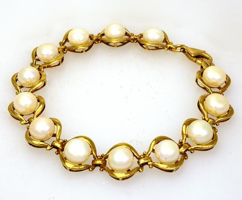 7in Pearl Link Bracelet in Gold