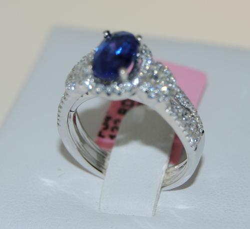 18K White Gold Blue Sapphire & Diamond Cocktail Ring