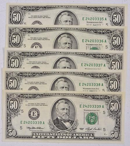 5 X CU $50 Notes in Sequence, 1993 Richmond