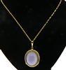 14KT Yellow Gold Purple Gemstone Pendant Necklace