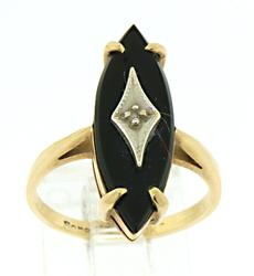 14KT Yellow Gold Ring with Black Gemstone