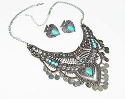 Impressive Ethnic Artisan Crafted Silver Tone Set