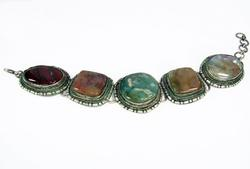 Appealing Vintage Ethnic Handmade Large Stones Bracelet
