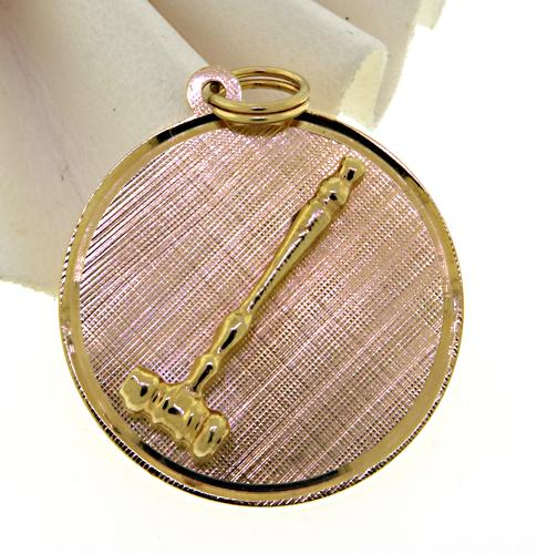 14KT Solid Yellow Gold Gavel Pendant