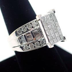 14KT White Gold Diamond Cluster Ring for Men