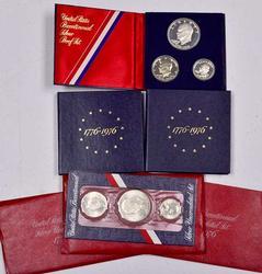 Bicentenial Silver Sets, 3 x Pr, 3 x UNC