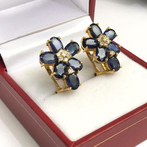 14kt Gold Blue Sapphire and Diamond Earrings
