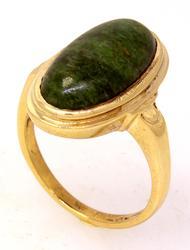 Green Jadeite Ring in Gold, Size 6.5